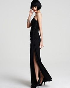 YES! The glamorous, femme fatale dress with the slit up the leg that makes you feel like the sexy spy/heroine in a movie! I can hear the tango playing now...