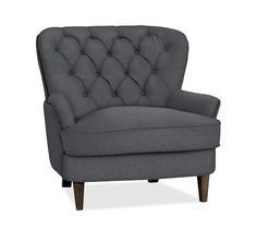 Cardiff Tufted Upholstered Armchair | Pottery Barn- Possible Chair for E