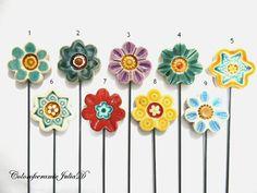 Ceramic Flowers planter stakeGarden by ColorofceramicJuliaD, $5.00
