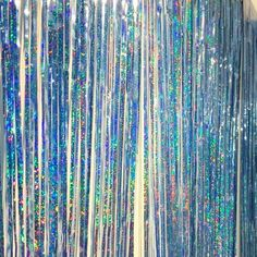 Blue Holographic Iridescent foil curtains are awesome for your events. Perfect Party Decoration For Halloween, New Years, Christmas, Birthdays, Wedding Simply hang the fringe curtain on walls and do Foil Curtain, Curtain Panels, Balloon Shades, Ruffle Duvet, Bedroom Decorating Tips, Painted Picture Frames, Neon Birthday, Party Streamers, Serpentina