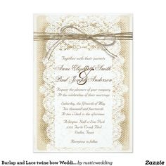 "Burlap and Lace twine bow Wedding Invitation 5"" X 7"" Invitation Card"