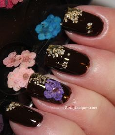 dried flowers nails - Google Search