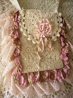 Doily and silk rose Victorian style purse-so pretty!