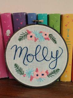 Custom name embroidery Baby shower gift Nursery decor by KasiaJ