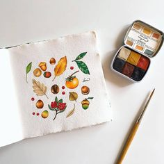 Still in autumn mood, what is your favorite doodles for autumn? Mine is all autumn plant doodles. I just love drawing them on my journal… Watercolor Plants, Watercolor Artwork, Watercolor Pattern, Watercolor Ideas, Art Journal Inspiration, Painting Inspiration, Ink Illustrations, Illustration Art, Bullet Journal Art