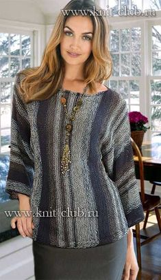 Knitting For Women 2 Sweaters, Pullovers And Dresses Knitting Stitches, Knitting Designs, Knitting Patterns Free, Knit Patterns, Hand Knitting, Moda Crochet, Knit Crochet, Knit Fashion, Womens Fashion