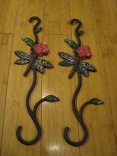 "Set of 2 Cast Iron Dragonfly Butterfly Flower Plant Hangers Porch Decor 16"" Long"