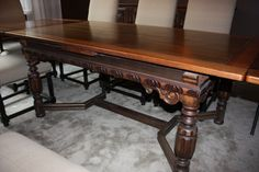 Oct. 2013 sale item!!   Vintage Dining room table with a hurricane by AwesomelyAged, $1350.00