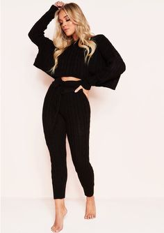 2cd5fd9b8c Missyempire - Rene Black Cable Knit Cropped Loungewear Set Loungewear Set