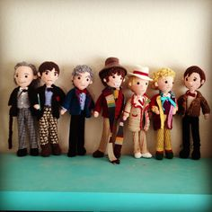 CRAFTYisCOOL: Crochet Dr Who 1-6 and 11 So stinkin' cute!  my boys would LOVE these I WISH I COULD CROCHET THESE!!!!!! AWESOME!