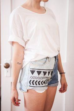 DIY bleached aztek denim shorts