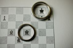 King and Queen! Chess inspired wedding ring photo.