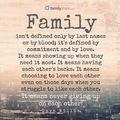Family isn't defined only by last names or by blood; it's defined by commitment and by love. It means showing up when they need it most. It means having each other's backs. It means choosing to love each other even on those days when you struggle to like each other. It means never giving up on each other! -Dave Willis.