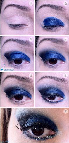 http://tudoorna.com/2012/07/25/passo-a-passo-maquiagem-azul-para-formatura/  makeup, makeup, makeup   Passo a Passo maquiagem azul para formatura