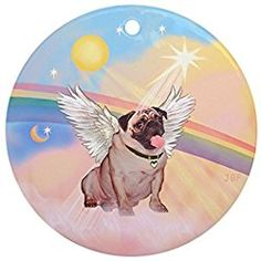 cafepress clouds pug 2 angel ornament round round holiday christmas