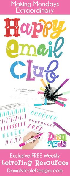Join the Happy Email Club! You'll get instant access to my free Happy Email Club, a resource library full of exclusive Art + Lettering goodies. #handlettering #brushcalligraphy #brushlettering