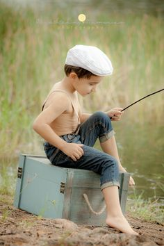 vintage style childrens portrait fishing - Google Search