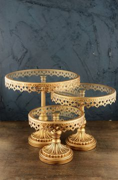 Set of Three GOLD Tiered CAKE STANDS by KitAndCaboodleSupply