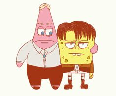 Patrick and Spongebob as Erwin and Levi XD