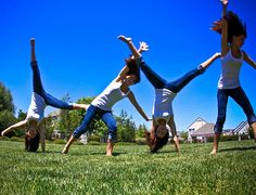 Pinner says: cartwheels til we were dizzy. one handed, too.  I say: I was never any good but that didn't stop me from trying.
