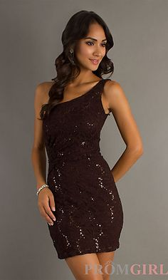 Short One Shoulder Dress at PromGirl.com