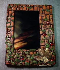 Legno, ottone, vetro e argilla polimerica parete giardino Photo Frame