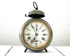 Antique french bell alarm clock  Reveil Comtois  by labelfrance