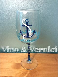 Nautical anchor wine glass for the beach house, hand painted, Vino & Vernici