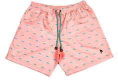 Buy Podenco Eivissa's luxurious men's pale pink swimshorts with The Geko print design and achieve that chilled Ibiza style which is perfect from beach to bar!   A label focused on lux mens resort wear, also including cotton linen shirts, toweling polo's, beach bags and kids swim shorts.
