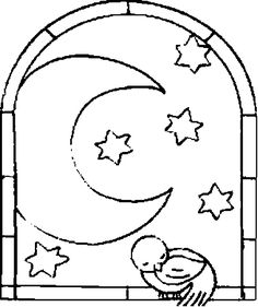 moon | Coloring picture of the moon and of stars through a window