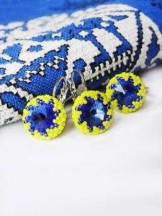 ARTonia / Swarovski set, Swarovski Rivoli, beaded earrings, ring, peyote, beaded, beadwork