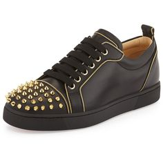 Christian Louboutin Rush Studded Leather Sneaker ($1,365) ❤ liked on Polyvore featuring shoes, sneakers, blk, waist trainer, lacing sneakers, black sneakers, black shoes and black trainers