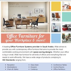 Buy Quality Office Furniture @ Affordable Prices in Saudi Arabia. We are providing brand new Office Furniture Solutions for sale in the Kingdom. #workspacesolutions #modernoffice #officefurniture #workspacedesign #commercialfurniture #madeinksa Innovative Office, Workspace Design, Commercial Furniture, Affordable Furniture, Saudi Arabia, Contemporary, Modern, Office Furniture, Space Saving