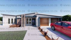 This Modern designed 2 Bedroom House Plan Boasting one Master Suite (with Patio) and one bedroom, bathroom, Open plan living area Master Suite Bedroom, One Bedroom, My Building, Building Plans, Home Design Plans, Plan Design, 2 Bedroom House Plans, Floor Layout, Double Garage