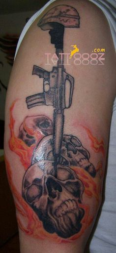 Military tattoo designs, it made on arms , made by diffierent colours of ink,orange,black & red colours of ink are used in making of such tattoo designs.. For more visit http://tattoooz.com