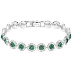 SWAROVSKI ANGELIC BRACELET, EMERALD ($110) ❤ liked on Polyvore featuring jewelry, bracelets, emerald bangle, emerald jewelry and emerald jewellery