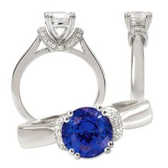 18k created 6.5mm round blue sapphire engagement ring with natural diamonds