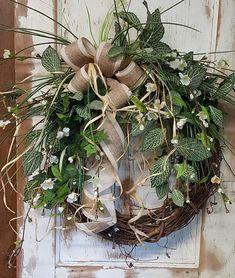 Front Door Wreath farmhouse wedding wreath Burlap Wreath
