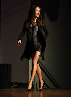 Maggie Q at New York Comic Con 2010 (dress by Alice Lee, jacket by Marie Saint Pierre from the Spring/Summer 2010 collection and Louboutin)