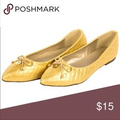 Gold Quilted Pointed Toe Ballet Flats Shoe NEW New in box. RUNS SMALL. I cannot guarantee fit. Ships next day.  Also available in silver metallic and black.  🎀 Discounts available with bundles🎀 H2k Shoes Flats & Loafers