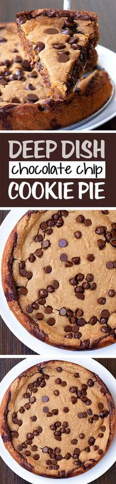 Ooey Gooey Chocolate Chip Cookie Pie | Posted By: DebbieNet.com