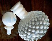 vintage Fenton art glass - White Clear Opalescent PERFUME MILKGLASS HOBNAIL  ..