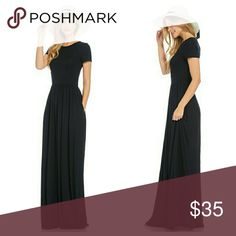 Black Short Sleeve Maxi With Pockets Black maxi with side pickets and elastic cinch at waist. Soft fabric with some stretch. EVIEcarche Dresses