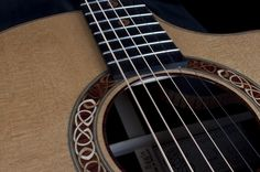 Beautiful details on a Linville Celtic Cutaway acoustic guitar by Patrick James Eggle.