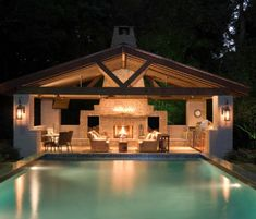 Pool house Ideas We adore all pool houses represent: an easy-breezy, indoor-outdoor lifestyle filled behind sunny days and kick-back gatherings of contacts and family. Outdoor Rooms, Outdoor Living, Outdoor Kitchens, Indoor Outdoor, Indoor Pools, Outdoor Lounge, Piscine Diy, Pavillion, Pool Cabana