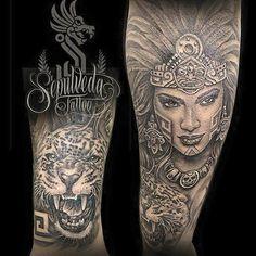 Princesa azteca/Aztec princess Halfsleeve #aztechalfsleeve #aztecprincesstattoo…