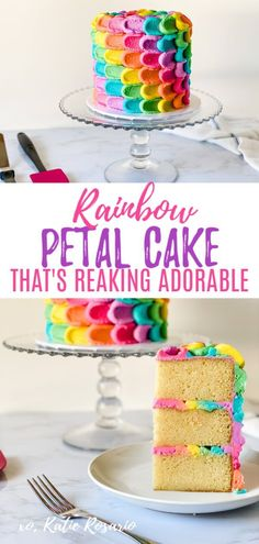 Calling all the rainbow lovers! Learn how to make this adorable rainbow petal cake. This rainbow petal cake is made with fluffy vanilla cake layers and rainbow vanilla buttercream. The vanilla cake is a simple recipe to follow and perfect for beginners. This technique can be done on any cake, but what makes this cake so unique is how to alternate the colors to create a spiral effect. I can't wait to see your rainbow petal cake creations! #xokatierosario #rainbowcake #rainbowpetalcake