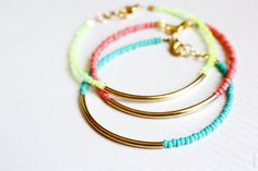 gold bar bracelets - minimalist jewelry - friendship bracelets SET OF 3. $27.00, via Etsy.