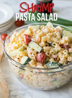 This Shrimp Pasta Salad is beyond delicious! So easy to make and the family LOVES it!