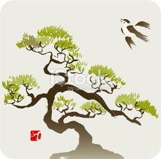 Bird and the Small Pine Tree or Bonsai Royalty Free Stock Vector Art Illustration